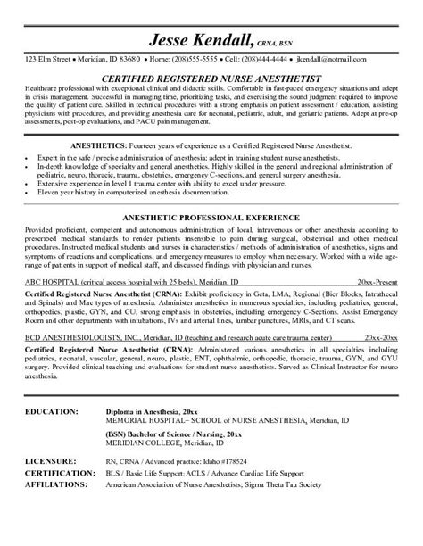 Anesthetist Resume Objective Exle Anesthetist Resume Free Sle