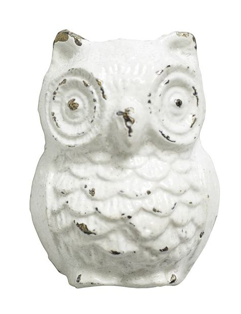 set of six white owl shaped knobs by bell blue
