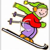 ... Colorful Cartoon of a Girl Snow Skiing - Royalty Free Clipart Picture