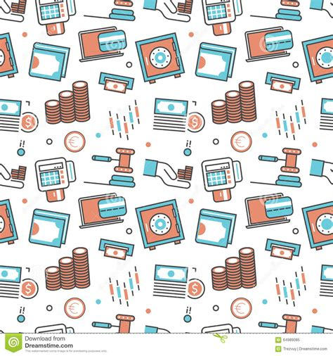 seamless pattern with shopping icons vector modern seamless pattern texture background stock