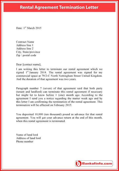 termination letter for bank facility rental agreement termination letter sle letter