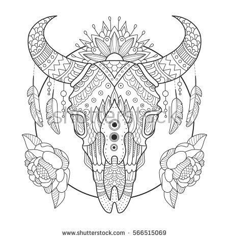 coloring page cow head cow skull coloring pages