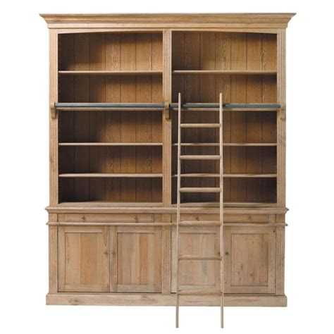 Oak Bookshelf Solid Oak Bookcase W 200cm Atelier Maisons Du Monde