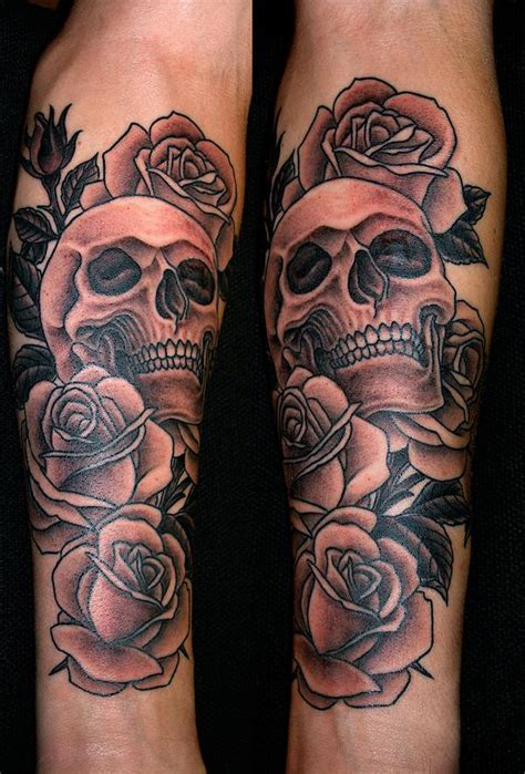 skulls and roses sleeve tattoo black designs ideas photos images