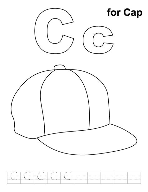 c for cap coloring pages for kids preschool crafts