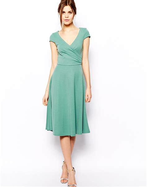 asos midi skater dress with skirt and wrap front in