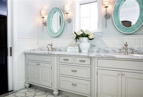 beadboard mirror gray and blue bathroom design decor photos pictures