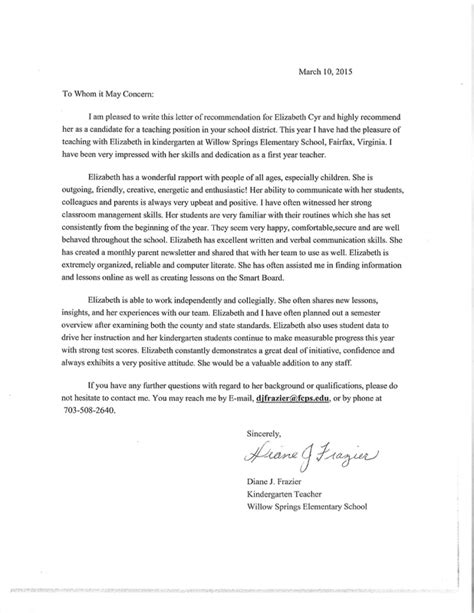 Recommendation Letter Kindergarten Sle Letters Of Recommendation Teach