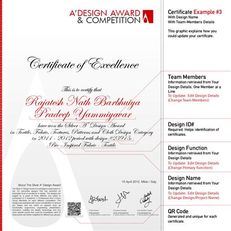 design competition award a design award and competition winners certificate