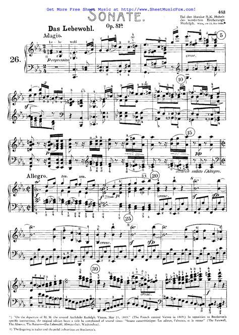 ludwig van beethoven music free sheet music for piano sonata no 26 op 81a beethoven