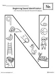 letter n beginning sound color pictures worksheet