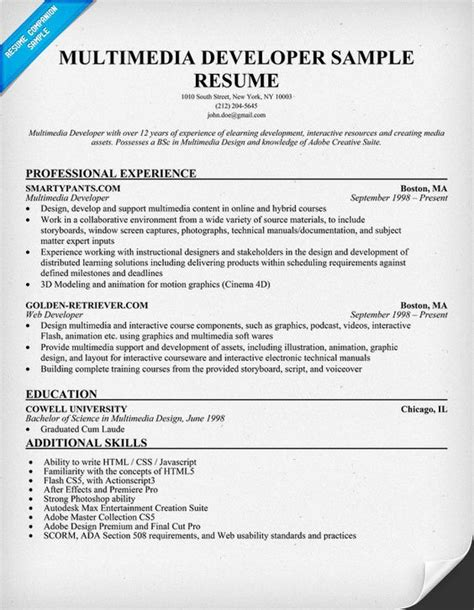 Multimedia Developer Sle Resume by Multimedia Developer Resume Sle Resumecompanion Resume Sles Across All Industries