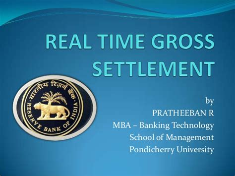 Mba Banking Technology Scope by Real Time Gross Settlement
