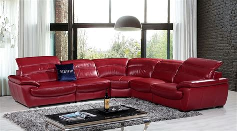 modern red leather sofa divani casa hana modern red leather sectional sofa