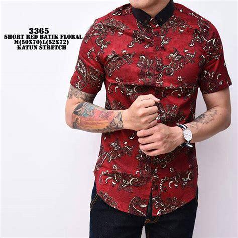 Kemeja Batik Priasabit Merah jual batik floral kemeja batik slimfit modern pria batik katun merah biru corak bunga baru