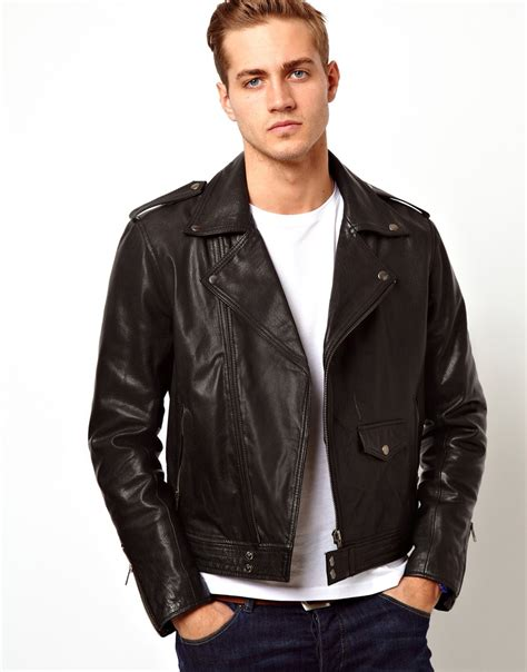 mens leather biker jacket leather bikers jacket mens coat nj