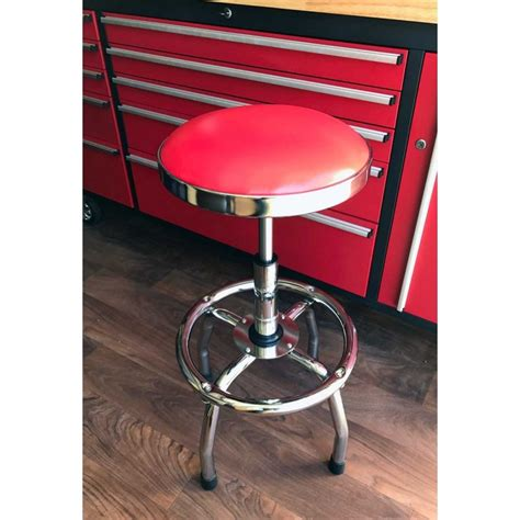 performance tool chrome plated pneumatic rolling bar stool ebay garage bar stool