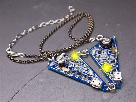 blinky led polygons convertible necklace to earrings
