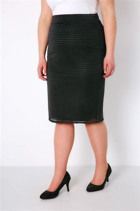 Black Pencil Skirt black pencil skirt with striped mesh overlay fully lined
