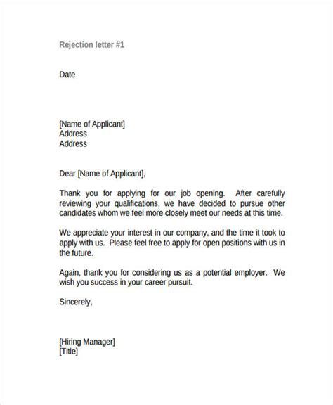 Rejection Letter Unqualified Candidate 10 Applicant Rejection Letters Free Sle Exle Format Free Premium Templates