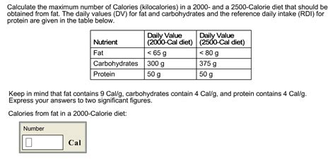 carbohydrates 2500 calorie diet solved calculate the maximum number of calories kilocalo