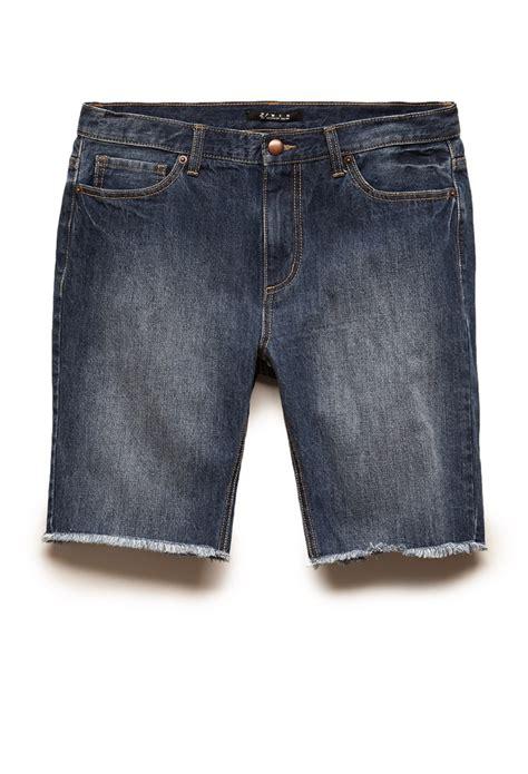 Frayed Denim 21men frayed denim shorts in blue for denim washed