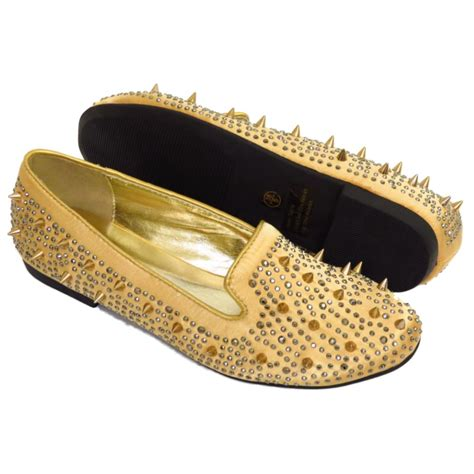 gold or black slip on satin flat stud pumps womens