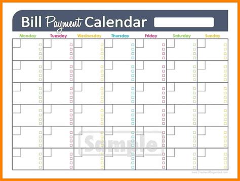 printable monthly bill calendar bill pay calendar 2017 printable printable calendar 2018