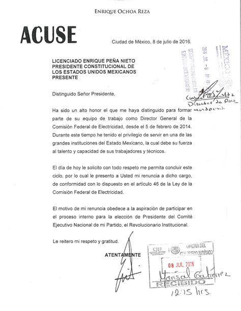 liquidacion renuncia voluntaria 2016 notizie24 ochoa recibi 243 liquidaci 243 n de 1 2 mdp por renunciar a cfe