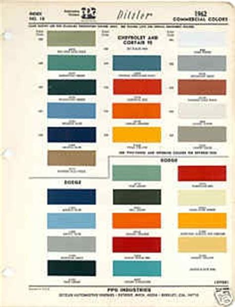1962 chevrolet dodge truck paint color chart ppg 62 scouted vintage illustrations