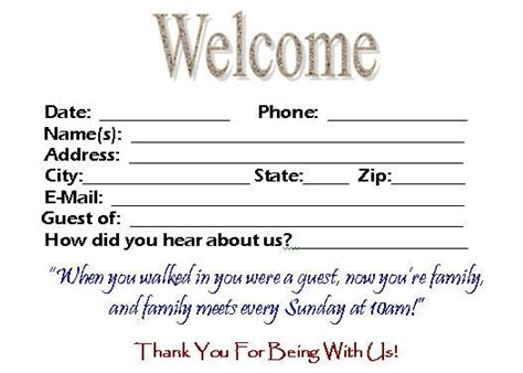 welcome card template this visitor card click the link below church