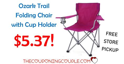 ozark trail folding chair with built in cup holder ozark trail folding chair with cup holder only 5 37