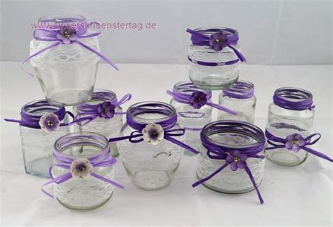 kerzenhalter lila 10 windlichter vasen hochzeit tischdeko herz spitze