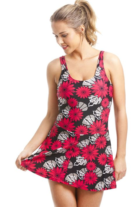 Floral Print Swim Suit black skirted swimsuit with and black floral print
