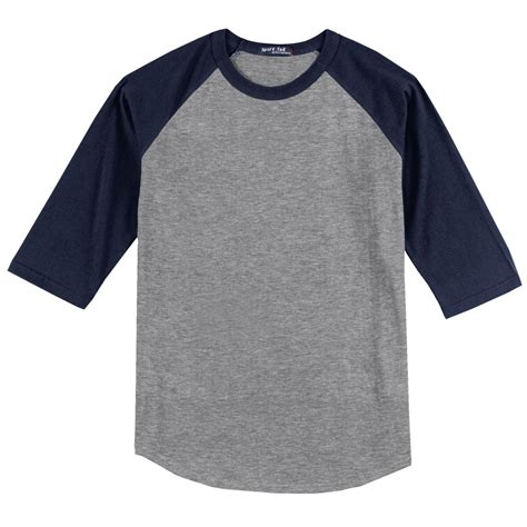 Tshrit Basic Slim Grey Navy White Maroon sport tek t200 colorblock raglan jersey grey navy fullsource