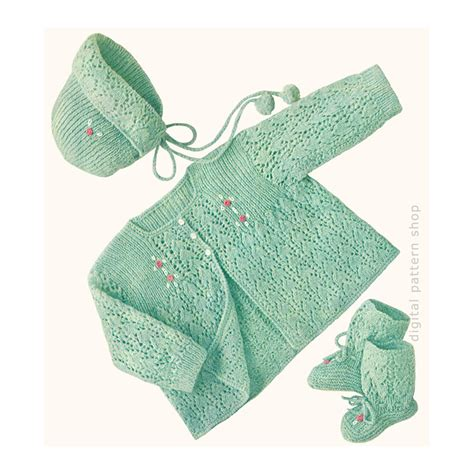vintage knitting pattern baby booties vintage baby knitting pattern lacy sweater bonnet booties