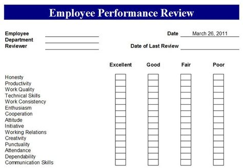 employee review form template free free employee evaluation forms printable search
