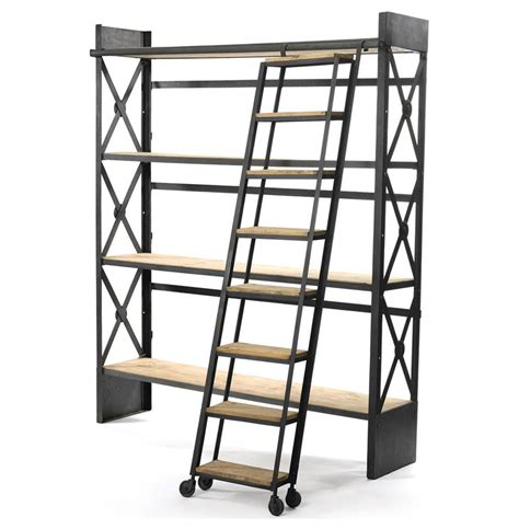 bookcase with rolling ladder industrial loft reclaimed wood bookcase with ladder