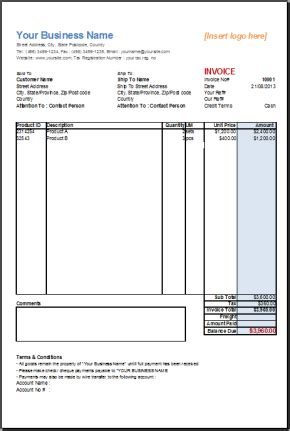 Office Invoice Template Invoice Exle Office Billing Template