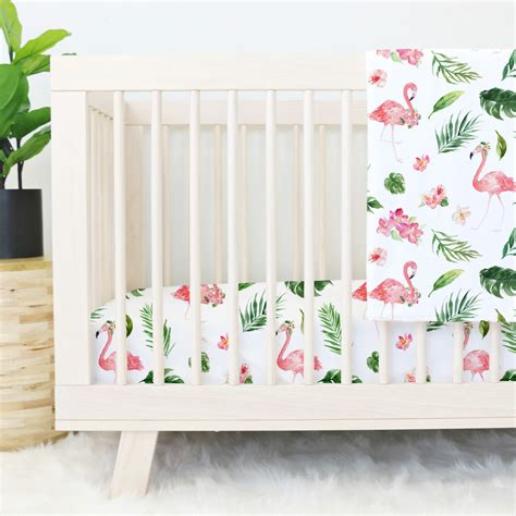 Flamingo Crib Bedding Tropical Floral Flamingo Crib Bedding Pink Flamingo Baby