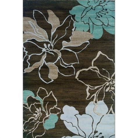 flower rug linon milan flower rectangular area brown turquoise rug