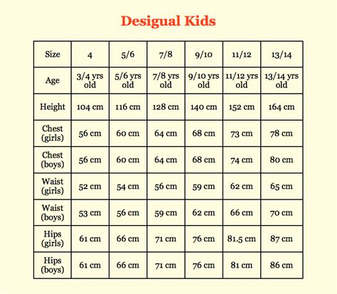 clothing size chart standard measurements for