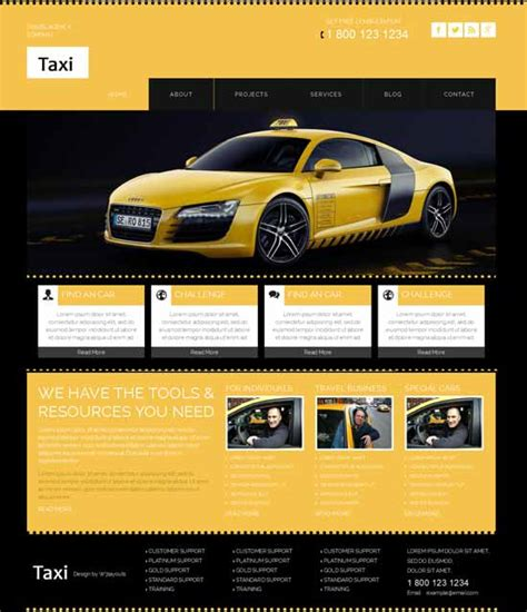 20 Best Car Rental Taxi Website Templates Free Premium Freshdesignweb Taxi Website Template