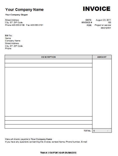 Free Printable Blank Invoice Templates Free To Do List Free Standard Invoice Template