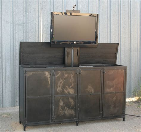 motorized tv lift cabinet combine 9 industrial furniture industrial motorized tv