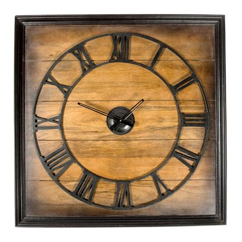 wooden wall clock buy natural square decor wooden wall clock online purely