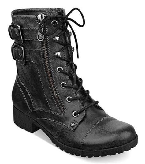 g by guess combat style ankle boots in black and brown