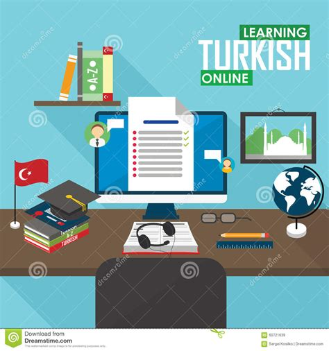 online tutorial lectures e learning turkish language stock vector image 60721639