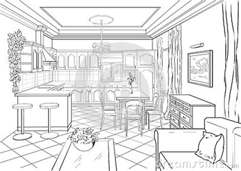 Sketch Of Dining Room by Sketch Interior In Classic Style Stock Illustration