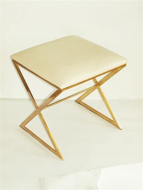 white and gold vanity chair worlds away x stool gold white ostrich x stool brass